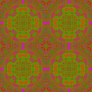 Fuchsia and Green Qbist Rings and Squares 21 x 18