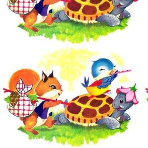 vintage kids kitsch squirrels chipmunks birds tortoise terrapins turtles sparrow acorns strawberry outing flute adventure whimsical children toddlers