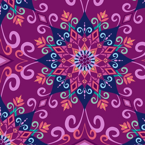 Blooming Mandala-Purple-Large Scale