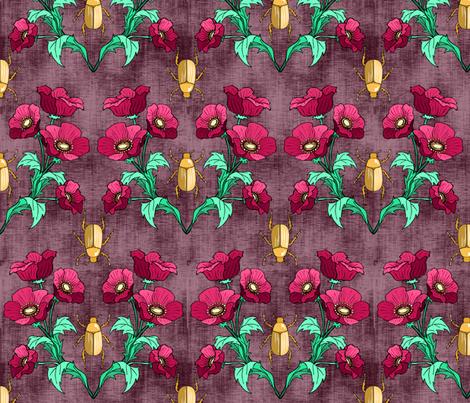 Gold Beetle + Poppy  fabric by pond_ripple on Spoonflower - custom fabric