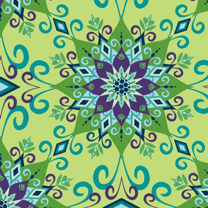 Blooming Mandala-Green-Large Scale