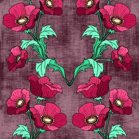 Red Poppies fabric by pond_ripple on Spoonflower - custom fabric