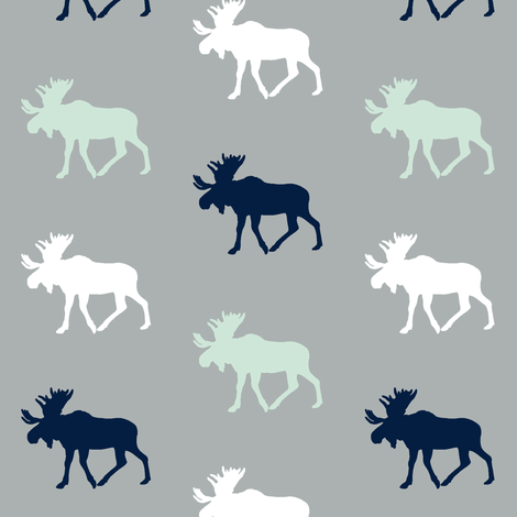 Multi Moose on grey (small scale)  // Northern Lights fabric by littlearrowdesign on Spoonflower - custom fabric