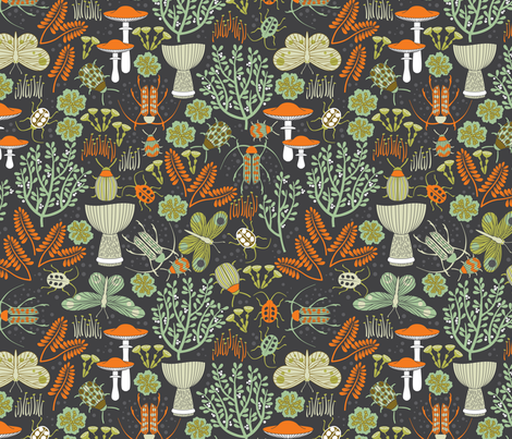 beetles moths lichen and moss fabric by cjldesigns on Spoonflower - custom fabric