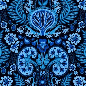 Dark Cobalt Kidney Damask