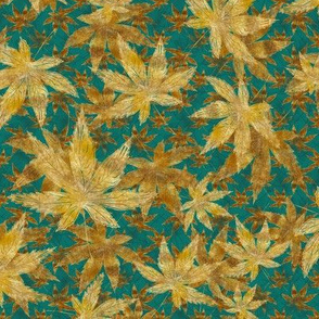 Falling Leaves Of Gold-Teal