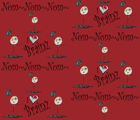 Zombies Nom Nom Red fabric by therustichome on Spoonflower - custom fabric