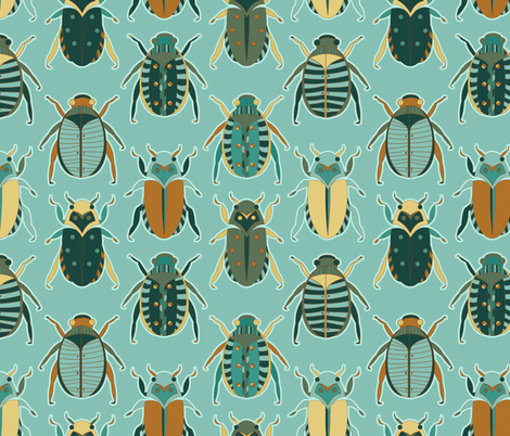 Scarab Beetles fabric by jannasalak on Spoonflower - custom fabric