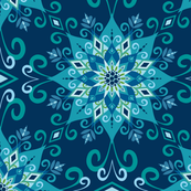 Blooming Mandala-Blue-Large Scale