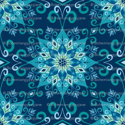 Blooming Mandala-Blue-Large Scale