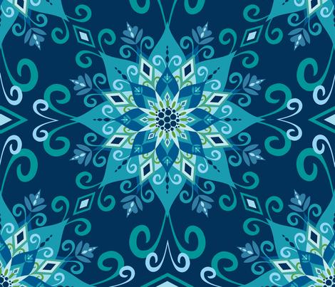 Blooming Mandala-Blue-Large Scale fabric by bohemiangypsyjane on Spoonflower - custom fabric