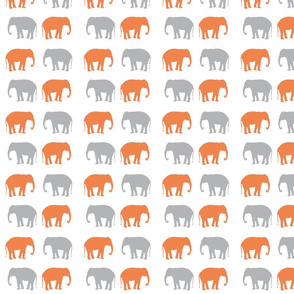 elephant in orange and gray