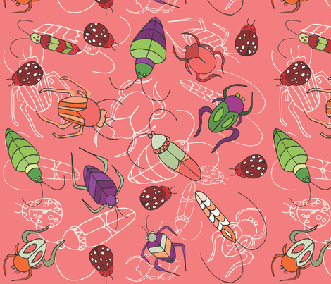 Beetle Bug Melon fabric by pamela_hamilton on Spoonflower - custom fabric