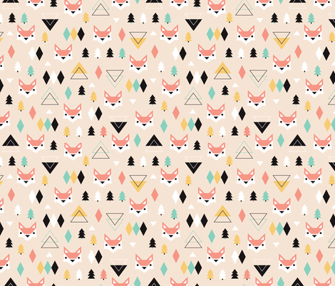 Geometric fox and pine tree illustration pattern fabric by littlesmilemakers on Spoonflower - custom fabric