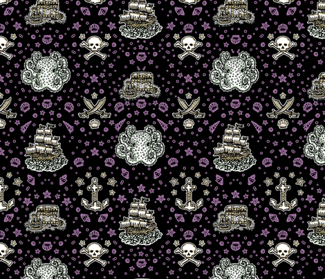black_repeat_shell_purple fabric by teja_jamilla on Spoonflower - custom fabric