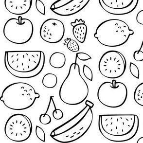 Delicious Fruits in Black and White