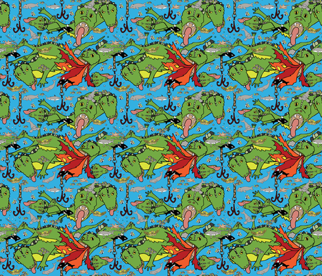 Leviathan sea creature fabric fabric by marion_mwr on Spoonflower - custom fabric