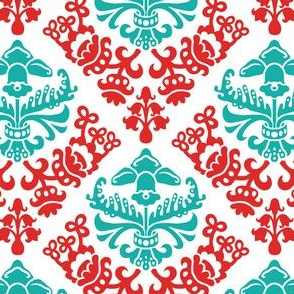 Red and Teal Bold Spring Bulb  Damask