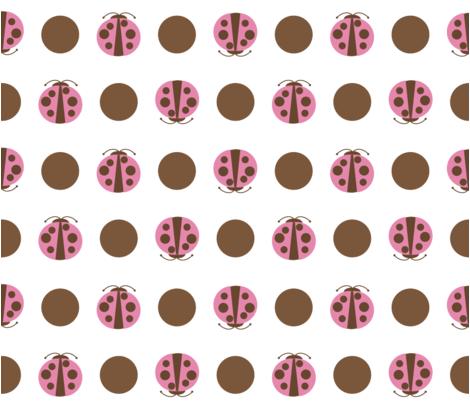 Beetles_Polkadot_brownPink1 fabric by renguie on Spoonflower - custom fabric