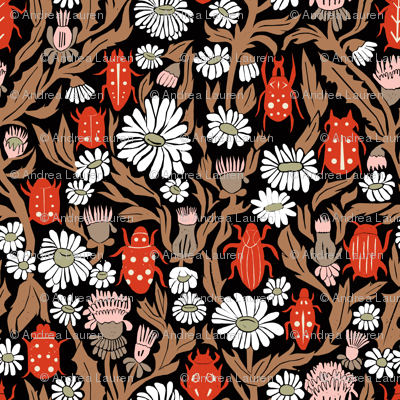 linocut beetles // vintage style linocut fabric hand-carved design by andrea lauren