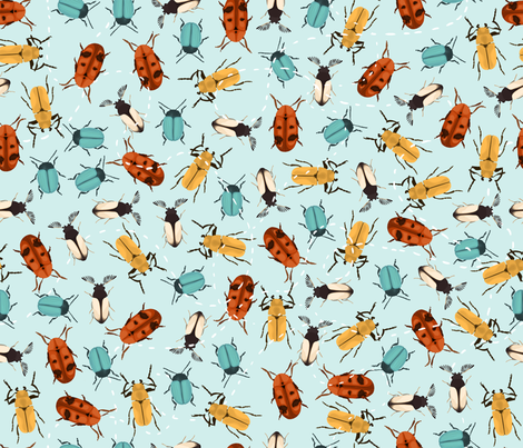 Beetles fabric by leoniehammerstein on Spoonflower - custom fabric