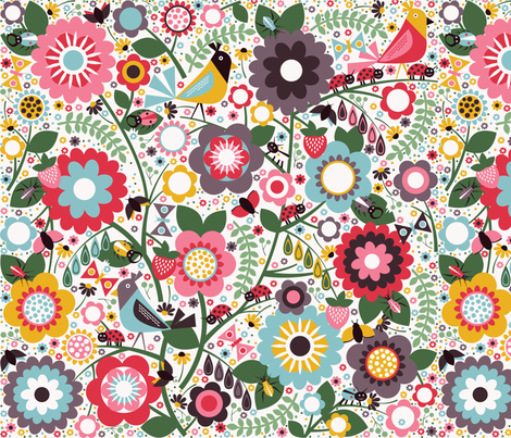 Garden Beetles fabric by oliveandruby on Spoonflower - custom fabric