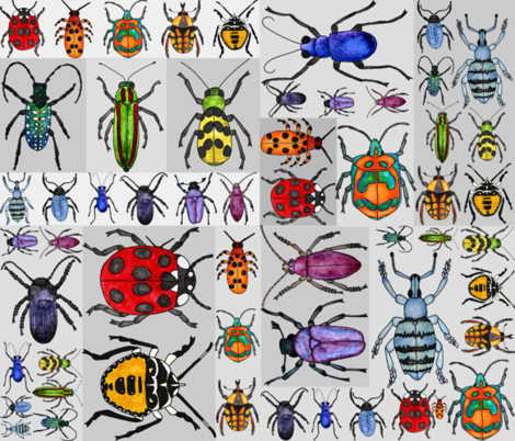 Rainbow_Beetle_Fun fabric by ottdesigns on Spoonflower - custom fabric