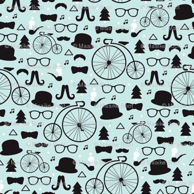 For A Hipster Music Mustache Christmas Illustration Pattern