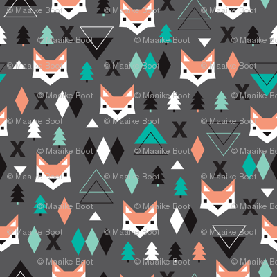 Geometric fox and pine tree illustration pattern
