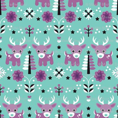 Winter wonderland reindeer christmas illustration pattern