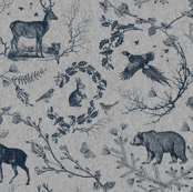 Woodland Winter Toile (in Smoke)
