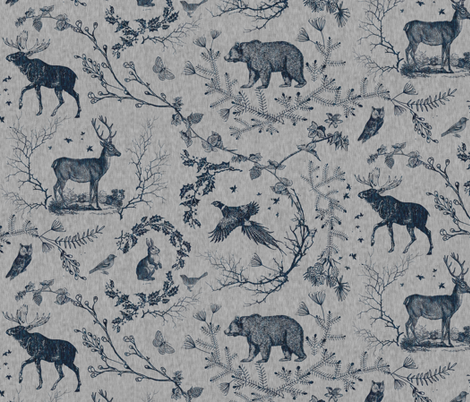 Woodland Winter Toile (in Smoke) fabric by nouveau_bohemian on Spoonflower - custom fabric