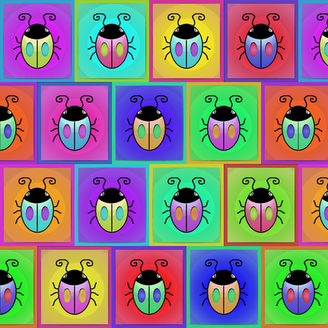 Bugs - Multicolor Offset Framed Squares fabric by lierre on Spoonflower - custom fabric