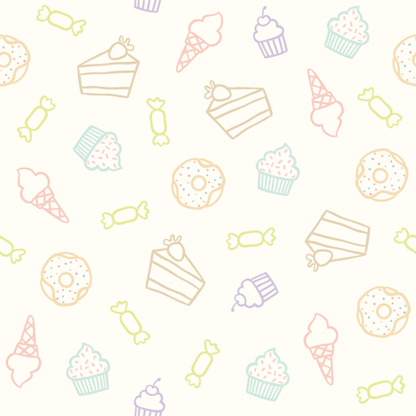 Sweets outline fabric by kondratya on Spoonflower - custom fabric