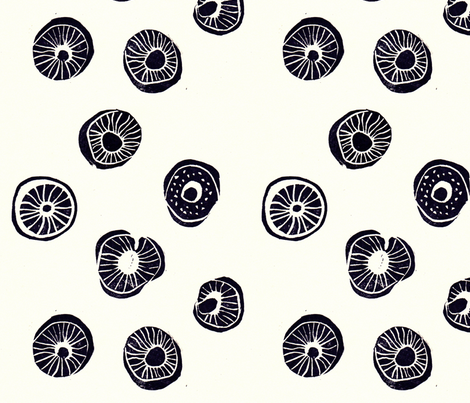 mushrooms black and white fabric by cristante on Spoonflower - custom fabric
