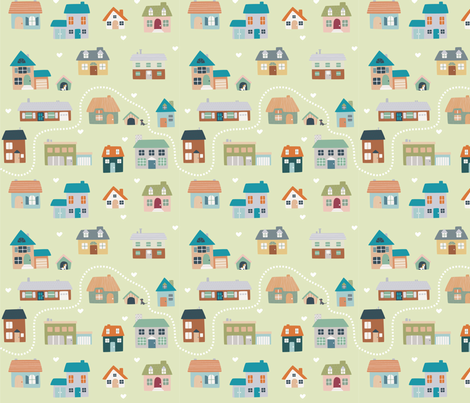 English houses fabric by gohlikim on Spoonflower - custom fabric