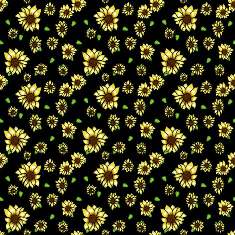 Sunflower Black Background Fabric