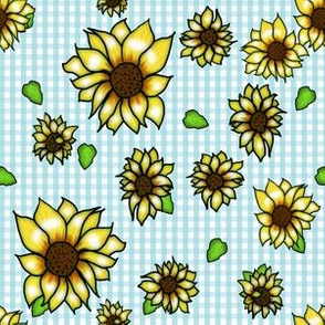 Sunflowers on Sky Blue Gingham