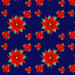 Pointsettias With Deep Blue