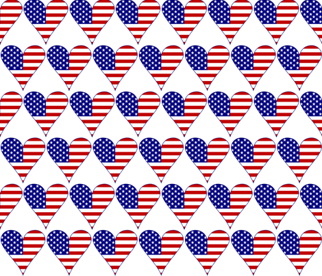 USA Flag Heart Funky Blue with Border fabric by auntieshoe on Spoonflower - custom fabric