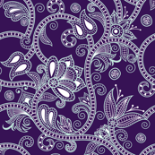 Floral Paisley Vines in purple