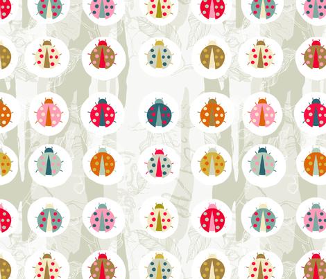 lady beetle on blue gum fabric by creativli on Spoonflower - custom fabric