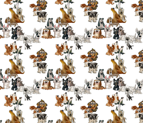 Funny Cartoon Howling Dogs fabric by lillyarts on Spoonflower - custom fabric
