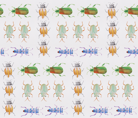 Watercolor Beetle Collection fabric by geraldinekoh on Spoonflower - custom fabric
