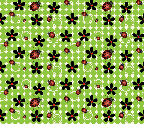 Lady bugs fabric by firedryad1 on Spoonflower - custom fabric