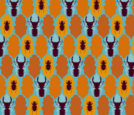 Stag Beetles and Oak Leaves fabric by mariaspeyer on Spoonflower - custom fabric