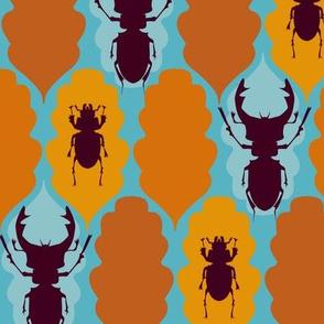 Stag Beetles and Oak Leaves