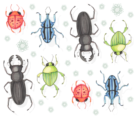 Bright Beetles fabric by renmeleon on Spoonflower - custom fabric