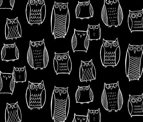 Night Owl Black fabric by leanne on Spoonflower - custom fabric