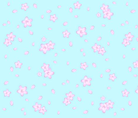 Sakura blossom on blue fabric by risu_rose on Spoonflower - custom fabric